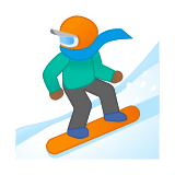 Snowboarder Emoji with Medium-Dark Skin Tone, Google style