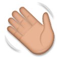 Waving Hand Emoji with a Medium Skin Tone, LG style