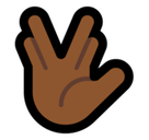 Vulcan Salute Emoji with Medium-Dark Skin Tone, Microsoft style