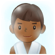Man in Steamy Room Emoji with Medium-Dark Skin Tone, Samsung style