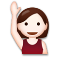 Person Raising Hand Emoji with Light Skin Tone, LG style