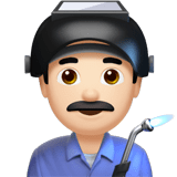 Man Factory Worker Emoji with Light Skin Tone, Apple style