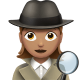 Woman Detective Emoji with a Medium Skin Tone, Apple style