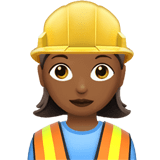Woman Construction Worker Emoji with a Medium-Dark Skin Tone, Apple style