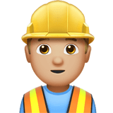 Man Construction Worker Emoji with a Medium-Light Skin Tone, Apple style
