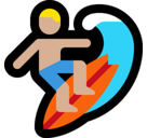 Person Surfing Emoji with Medium-Light Skin Tone, Microsoft style