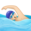 Man Swimming Emoji with a Light Skin Tone, Samsung style