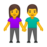 Man and Woman Holding Hands Emoji, Google style