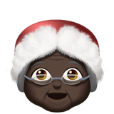 Mrs. Claus Emoji with a Dark Skin Tone, Apple style