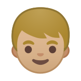 Boy Emoji with a Medium-Light Skin Tone, Google style