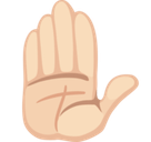Raised Hand Emoji with Light Skin Tone, Facebook style