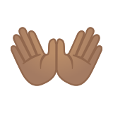 Open Hands Emoji with a Medium Skin Tone, Google style