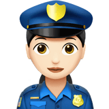 Woman Police Officer Emoji with Light Skin Tone, Apple style