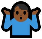 Man Shrugging Emoji with Medium-Dark Skin Tone, Microsoft style