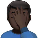 Person Facepalming Emoji with Dark Skin Tone, Apple style