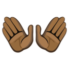 Open Hands Emoji with Dark Skin Tone, Facebook style