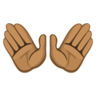 Open Hands Emoji with Medium-Dark Skin Tone, Facebook style
