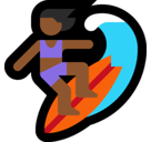 Woman Surfing Emoji with Medium-Dark Skin Tone, Microsoft style