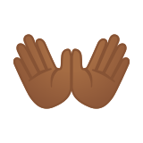 Open Hands Emoji with Medium-Dark Skin Tone, Google style
