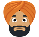 Person Wearing Turban Emoji with a Medium Skin Tone, Facebook style