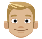 Blond-Haired Person Emoji with a Medium-Light Skin Tone, Facebook style