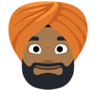 Person Wearing Turban Emoji with a Medium-Dark Skin Tone, Facebook style