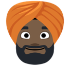 Person Wearing Turban Emoji with Dark Skin Tone, Facebook style