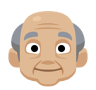 Old Man Emoji with a Medium-Light Skin Tone, Facebook style
