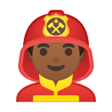 Man Firefighter Emoji with a Medium-Dark Skin Tone, Google style