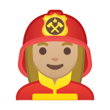 Woman Firefighter Emoji with a Medium-Light Skin Tone, Google style