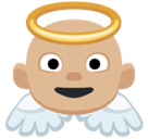 Baby Angel Emoji with a Medium-Light Skin Tone, Facebook style