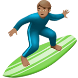 Person Surfing Emoji with Medium Skin Tone, Apple style