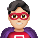 Man Superhero Emoji with Light Skin Tone, Apple style
