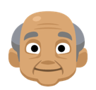 Old Man Emoji with a Medium Skin Tone, Facebook style