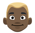 Blond-Haired Person Emoji with a Dark Skin Tone, Facebook style