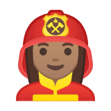 Woman Firefighter Emoji with Medium Skin Tone, Google style