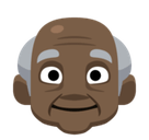 Old Man Emoji with a Dark Skin Tone, Facebook style