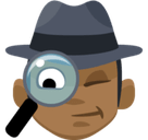Detective Emoji with a Medium-Dark Skin Tone, Facebook style