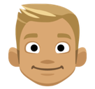 Blond-Haired Person Emoji with a Medium Skin Tone, Facebook style