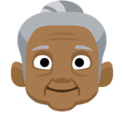 Old Woman Emoji with a Medium-Dark Skin Tone, Facebook style