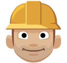 Construction Worker Emoji with Medium-Light Skin Tone, Facebook style