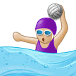 Woman Playing Water Polo Emoji with a Medium-Light Skin Tone, Samsung style
