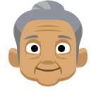 Old Woman Emoji with a Medium Skin Tone, Facebook style