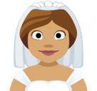 Bride with Veil Emoji with a Medium Skin Tone, Facebook style