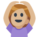 Woman Gesturing Ok Emoji with Medium-Light Skin Tone, Facebook style