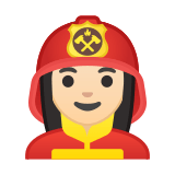 Woman Firefighter Emoji with Light Skin Tone, Google style