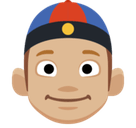 Man with Chinese Cap Emoji with Medium-Light Skin Tone, Facebook style