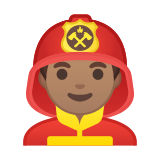 Man Firefighter Emoji with a Medium Skin Tone, Google style