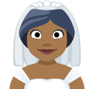 Bride with Veil Emoji with Medium-Dark Skin Tone, Facebook style
