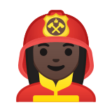 Woman Firefighter Emoji with a Dark Skin Tone, Google style